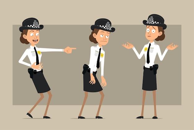 Carattere di donna poliziotto britannico piatto divertente del fumetto in cappello nero e uniforme con distintivo. ragazza triste, stanca, che ride e incomprensione.