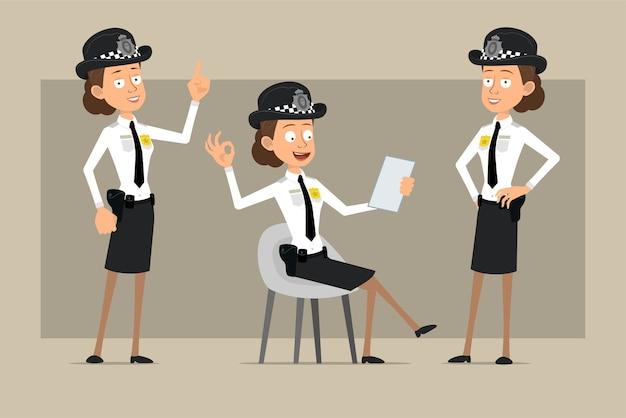 Carattere di donna poliziotto britannico piatto divertente del fumetto in cappello nero e uniforme con distintivo. ragazza che mostra segno di attenzione e nota di lettura. pronto per l'animazione. isolato su sfondo grigio. impostato. Vettore Premium