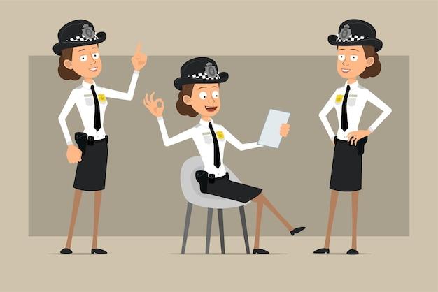 Carattere di donna poliziotto britannico piatto divertente del fumetto in cappello nero e uniforme con distintivo. ragazza che mostra segno di attenzione e nota di lettura.