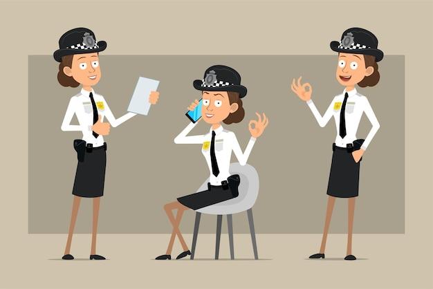 Carattere di donna poliziotto britannico piatto divertente del fumetto in cappello nero e uniforme con distintivo. ragazza che parla sul telefono e che mostra i pollici in su.