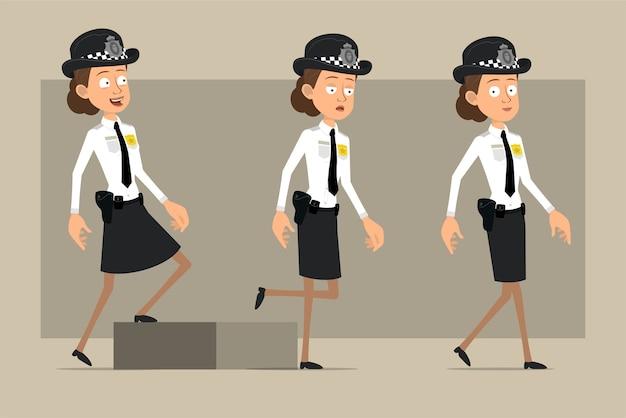 Carattere di donna poliziotto britannico piatto divertente del fumetto in cappello nero e uniforme con distintivo. ragazza stanca riuscita che cammina fino al suo obiettivo. pronto per l'animazione. isolato su sfondo grigio. impostato.