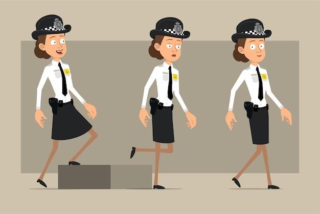 Carattere di donna poliziotto britannico piatto divertente del fumetto in cappello nero e uniforme con distintivo. ragazza stanca riuscita che cammina fino al suo obiettivo.