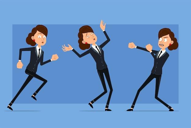 Carattere di donna d'affari piatto divertente del fumetto in abito nero con cravatta nera. ragazza che combatte, cade e ha paura.