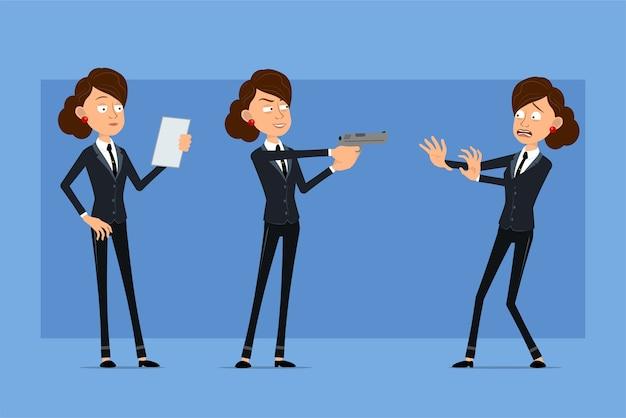 Carattere di donna d'affari piatto divertente del fumetto in abito nero con cravatta nera. ragazza che legge la nota di carta e che spara dalla pistola.