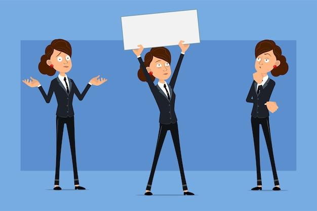 Carattere di donna d'affari piatto divertente del fumetto in abito nero con cravatta nera. ragazza che pensa, che posa e che tiene segno in bianco per testo.