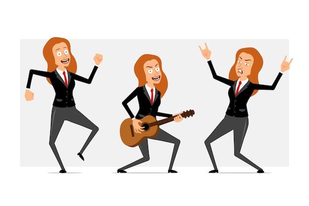 Carattere di donna d'affari piatto divertente del fumetto in abito nero con cravatta rossa. ragazza che balla, suona la chitarra e mostra il segno del rock and roll. pronto per l'animazione. isolato su sfondo grigio. impostato.