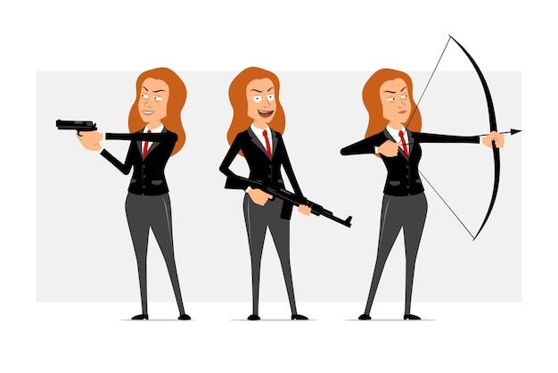 Carattere di donna d'affari piatto divertente del fumetto in abito nero con cravatta rossa. ragazza che spara da arco, tenendo la pistola e il fucile automatico. pronto per l'animazione. isolato su sfondo grigio. impostato.