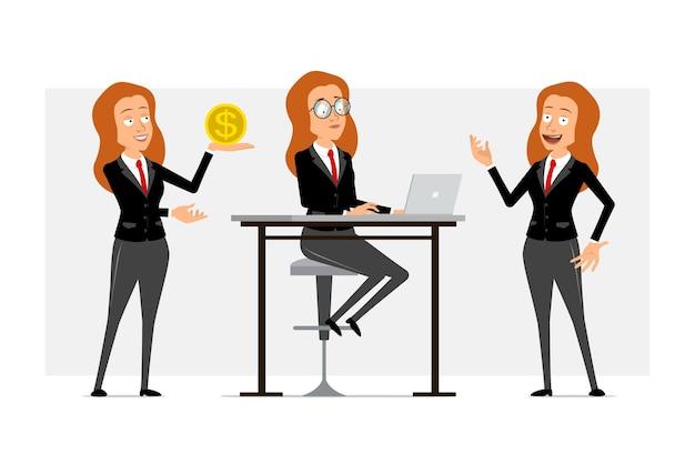 Carattere di donna d'affari piatto divertente del fumetto in abito nero con cravatta rossa. ragazza che lavora al computer portatile e che tiene moneta d'oro con il simbolo del dollaro. pronto per l'animazione. isolato su sfondo grigio. impostato.
