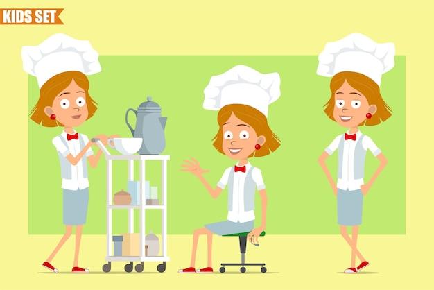 Personaggio dei cartoni animati piatto divertente chef cuoco ragazza in uniforme bianca e cappello da panettiere. bambino che mostra il segno di ciao e cammina con il tavolino dell'hotel.