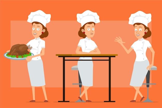 Cartoon piatto divertente chef cuoco carattere donna in uniforme bianca e cappello da panettiere. ragazza in posa e che trasportano gustosi tacchino fritto o pollo.