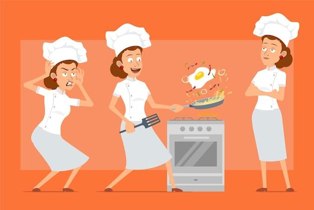 Cartoon piatto divertente chef cuoco carattere donna in uniforme bianca e cappello da panettiere. ragazza spaventata e cucinare uovo fritto con pancetta.