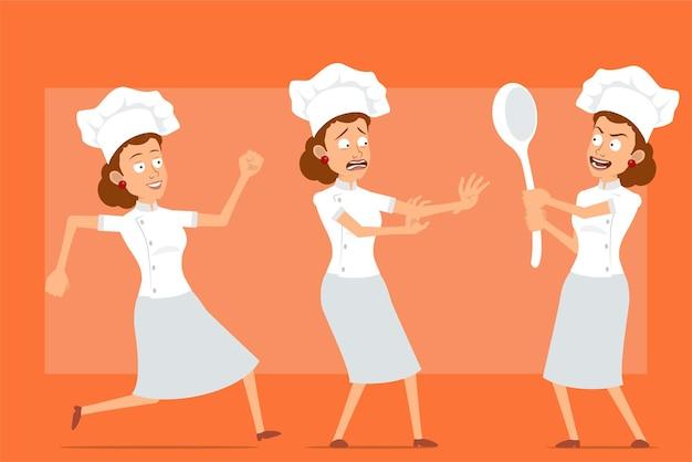 Cartoon piatto divertente chef cuoco carattere donna in uniforme bianca e cappello da panettiere. ragazza spaventata, tenendo un grosso cucchiaio e in esecuzione.