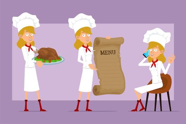 Cartoon piatto divertente chef cuoco personaggio donna in uniforme bianca e cappello da panettiere. ragazza parla al telefono, tenendo il menu e gustoso tacchino fritto.