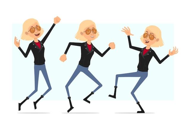 Personaggio dei cartoni animati piatto divertente carino bionda rock and roll ragazza in giacca di pelle. ragazza bionda che salta e balla.