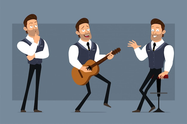 Carattere di uomo d'affari muscoloso forte carino divertente piatto del fumetto con cravatta nera. pronto per le animazioni. ragazzo a suonare la chitarra e seduto su una sedia. isolato su sfondo grigio. grande set di icone.