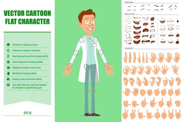 Personaggio di uomo medico piatto divertente del fumetto in uniforme bianca con distintivo. espressioni del viso, occhi, sopracciglia, bocca e mani.