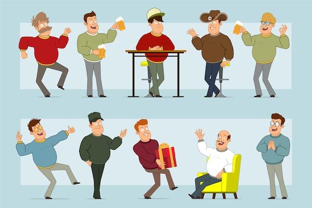 Carattere di uomo sorridente grasso piatto divertente del fumetto in jeans e maglione. ragazzo che trasporta il regalo del nuovo anno, che tiene birra e che mostra il segno giusto