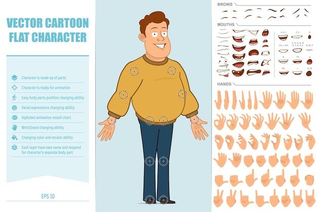 Carattere di uomo sorridente grasso piatto divertente del fumetto in jeans e maglione. espressioni del viso, occhi, sopracciglia, bocca e mani.