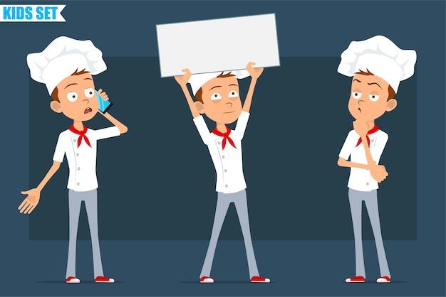 Cartone animato piatto divertente piccolo chef cuoco personaggio ragazzo in uniforme bianca e cappello da panettiere. kid tenendo segno in bianco, pensando e parlando al telefono.