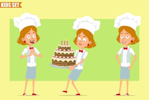 Cartone animato piatto divertente piccolo chef cuoco personaggio ragazza in uniforme bianca e cappello da panettiere. kid portando la torta di compleanno e in posa.