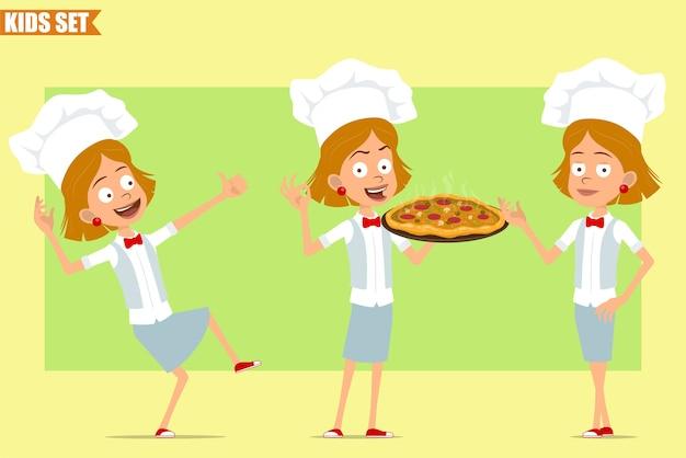 Cartone animato piatto divertente piccolo chef cuoco personaggio ragazza in uniforme bianca e cappello da panettiere. kid portando pizza con salame e mostrando segno ok.