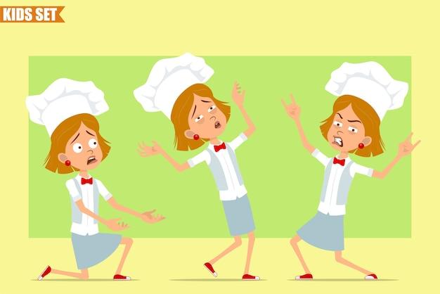 Cartone animato piatto divertente piccolo chef cuoco personaggio ragazza in uniforme bianca e cappello da panettiere. kid cadere, mostrando il segno del rock and roll.