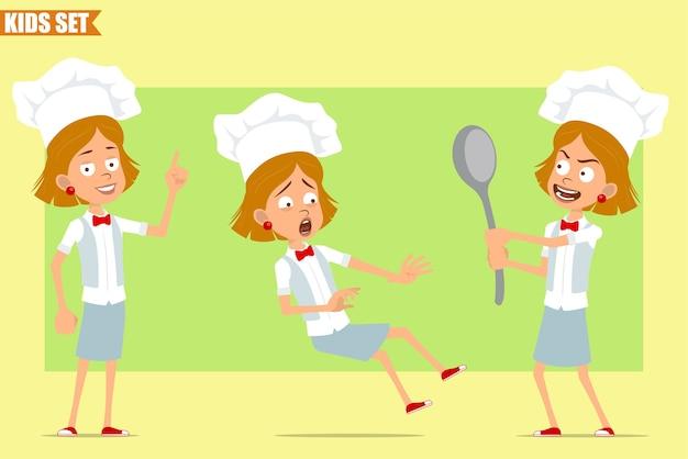Cartone animato piatto divertente piccolo chef cuoco personaggio ragazza in uniforme bianca e cappello da panettiere. kid tenendo un grande cucchiaio e cadere.