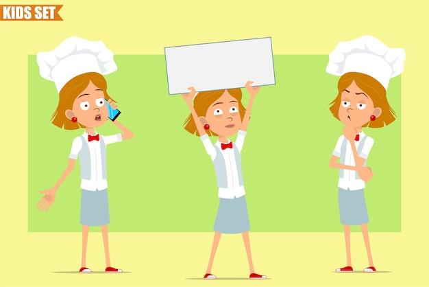 Cartone animato piatto divertente piccolo chef cuoco personaggio ragazza in uniforme bianca e cappello da panettiere. kid tenendo segno in bianco, pensando e parlando al telefono.