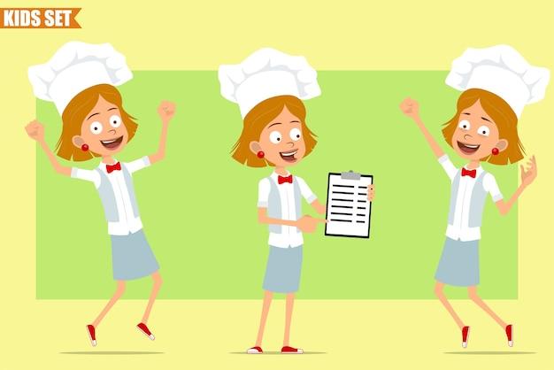 Cartone animato piatto divertente piccolo chef cuoco personaggio ragazza in uniforme bianca e cappello da panettiere. kid saltando e mostrando task tablet.