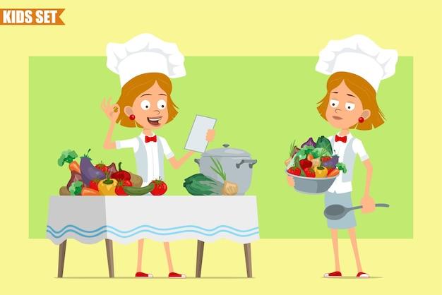 Cartone animato piatto divertente piccolo chef cuoco personaggio ragazza in uniforme bianca e cappello da panettiere. nota di lettura del bambino e cucina di cibo dalle verdure.