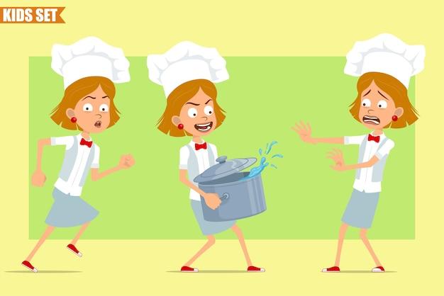 Cartone animato piatto divertente piccolo chef cuoco personaggio ragazza in uniforme bianca e cappello da panettiere. kid correre e portare stufato di pentola con acqua calda.