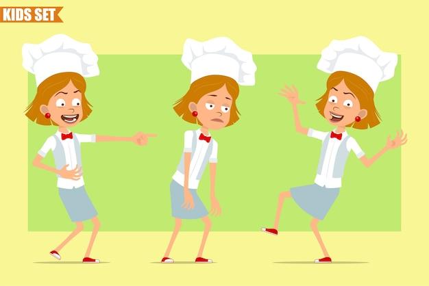Cartone animato piatto divertente piccolo chef cuoco personaggio ragazza in uniforme bianca e cappello da panettiere. kid triste, stanco, ridendo, saltando e ballando.