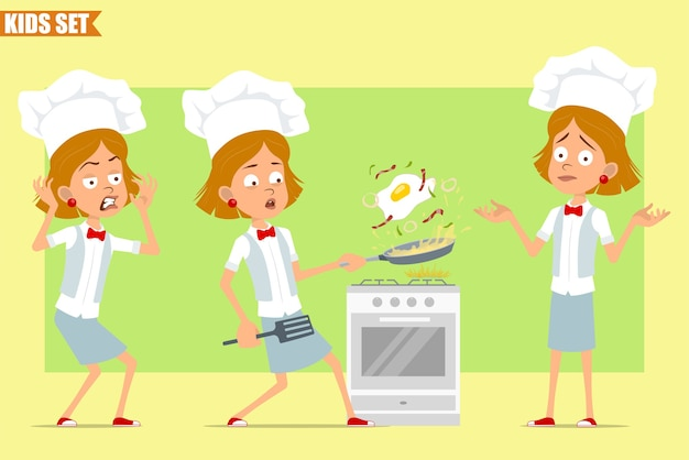 Cartone animato piatto divertente piccolo chef cuoco personaggio ragazza in uniforme bianca e cappello da panettiere. kid spaventato e cucinare uovo fritto con pancetta.