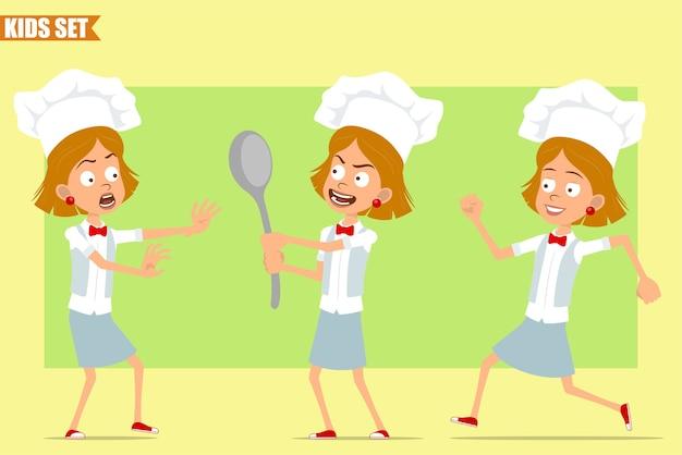 Cartone animato piatto divertente piccolo chef cuoco personaggio ragazza in uniforme bianca e cappello da panettiere. ragazzo spaventato, tenendo in mano un cucchiaio grande e correndo.