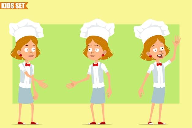 Cartone animato piatto divertente piccolo chef cuoco personaggio ragazza in uniforme bianca e cappello da panettiere. kid stringe la mano e mostra il gesto ciao.