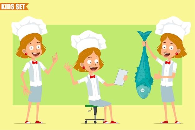 Cartone animato piatto divertente piccolo chef cuoco personaggio ragazza in uniforme bianca e cappello da panettiere. bambino che mostra il gesto giusto e che tiene i pesci grandi.