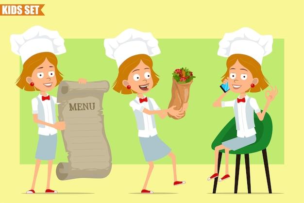Cartone animato piatto divertente piccolo chef cuoco personaggio ragazza in uniforme bianca e cappello da panettiere. kid parlando al telefono, tenendo il menu e shawarma.