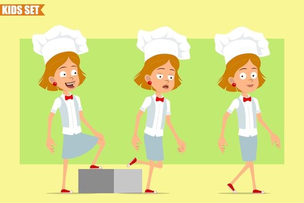 Cartone animato piatto divertente piccolo chef cuoco personaggio ragazza in uniforme bianca e cappello da panettiere. riuscito bambino stanco che cammina in avanti verso il suo obiettivo.