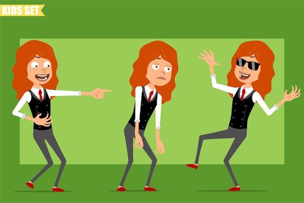 Personaggio dei cartoni animati piatto divertente piccola rossa ragazza in tailleur con cravatta rossa. ragazzo triste, stanco, che ride e balla o salta. pronto per l'animazione. isolato su sfondo verde. impostato.