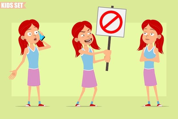 Personaggio dei cartoni animati piatto divertente piccola rossa ragazza in gonna viola. bambino che parla sul telefono e che tiene nessun segnale di stop di entrata