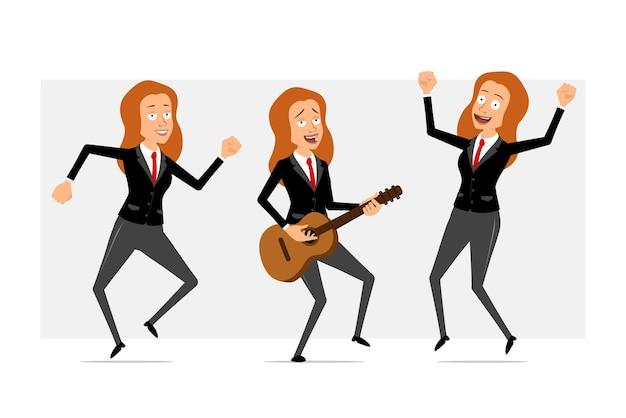 Carattere di donna d'affari piatto divertente rossa del fumetto in abito nero con cravatta rossa. ragazza che salta, balla e suona rock alla chitarra. pronto per l'animazione. isolato su sfondo grigio. impostato.