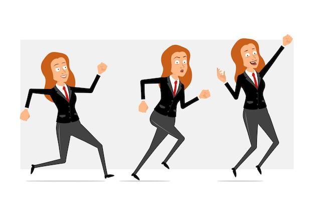 Carattere di donna d'affari piatto divertente rossa del fumetto in abito nero con cravatta rossa. ragazza che salta e corre veloce in avanti. pronto per l'animazione. isolato su sfondo grigio. impostato.