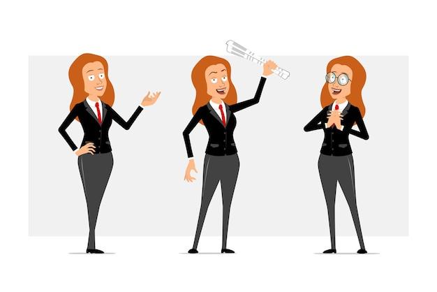 Carattere di donna d'affari piatto divertente rossa del fumetto in abito nero con cravatta rossa. ragazza in posa sulla foto e tenendo il giornale. pronto per l'animazione. isolato su sfondo grigio. impostato.