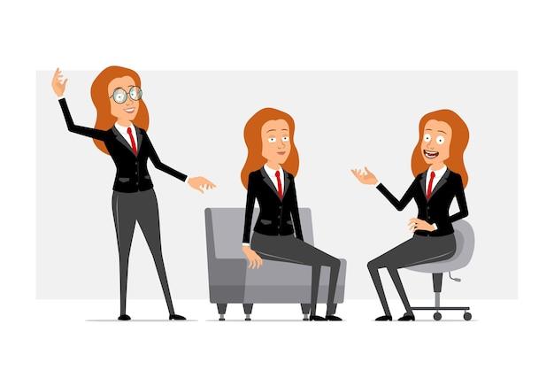 Carattere di donna d'affari piatto divertente rossa del fumetto in abito nero con cravatta rossa. ragazza in posa, che riposa e che mostra gesto di benvenuto. pronto per l'animazione. isolato su sfondo grigio. impostato.