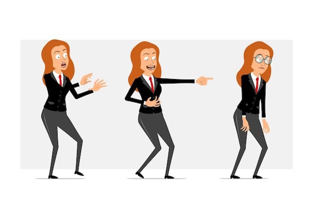 Carattere di donna d'affari piatto divertente rossa del fumetto in abito nero con cravatta rossa. ragazza spaventata, triste, stanca e mostrando un sorriso malvagio. pronto per l'animazione. isolato su sfondo grigio. impostato.