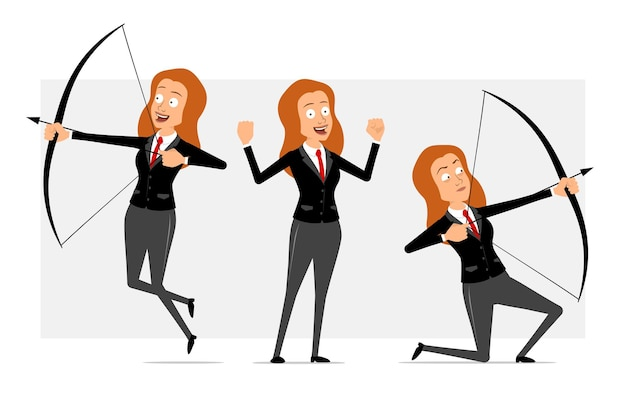 Carattere di donna d'affari piatto divertente rossa del fumetto in abito nero con cravatta rossa. ragazza che mostra i muscoli, tiro da arco e freccia. pronto per l'animazione. isolato su sfondo grigio. impostato.