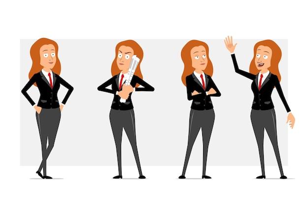 Carattere di donna d'affari piatto divertente rossa del fumetto in abito nero con cravatta rossa. ragazza che pensa, che tiene il giornale e che mostra il segno di benvenuto. pronto per l'animazione. isolato su sfondo grigio. impostato.