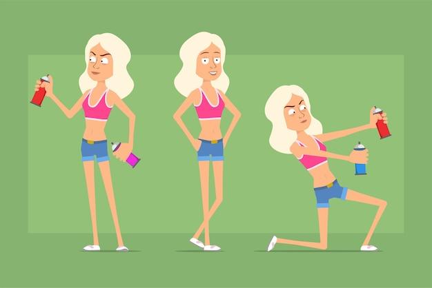 Carattere della donna di sport piatto divertente del fumetto in pantaloncini di jeans e camicia. ragazza in posa e lavora con la bomboletta di vernice spray.