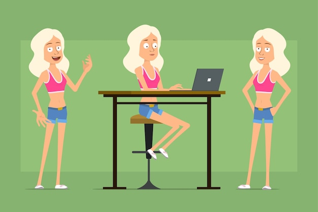 Carattere della donna di sport piatto divertente del fumetto in pantaloncini di jeans e camicia. ragazza che lavora al computer portatile e posa per la foto.