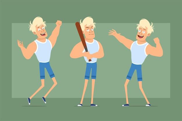 Cartone animato piatto divertente personaggio sportivo biondo forte in maglietta e pantaloncini. ragazzo in posa, saltando e tenendo la mazza da baseball. pronto per l'animazione. isolato su sfondo verde. impostato.